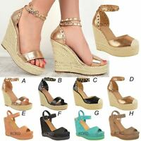 Womens Ladies Studded Wedge Sandal Rock Espadrille Platform Summer Party Shoes