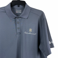 Under Armour Men's Heat Gear Gray Polo Loose Large S/S Old Memorial Golf