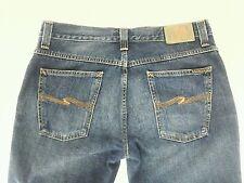 EUC $195 NUDIE Jeans Mens Slim Jim 36 X 34 Blue ITALY Distressed Denim Skinny