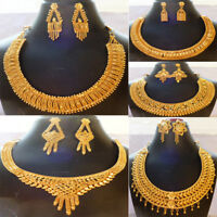 Indian Gold Plated 22K Wedding 8'' Inch Long Party Fashion Necklace Earrings Set