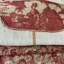 Antique Vintage French Fabric Scraps Pack Red Toile Handwoven Hemp Linen Pieces