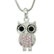 Owl Made With Swarovski Crystal Wise Wisdom Smart Symbol Pink Pendant Necklace