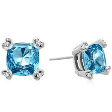 10K WHITE GOLD 2CT CUSHION GENUINE BLUE TOPAZ AND DIAMOND EARRINGS