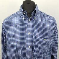 Lacoste Mens Vintage Shirt 44 2XL Classic Fit Check Cotton SHORTER SLEEVES