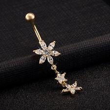 CZ Navel Crystal Ring Chain/Dangle Body Piercing Belly Bar/Barbell Gold Zircon