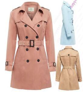 Womens Trench Coat Ladies Mac Jacket Size 8 10 12 14 16 Beige Salmon Blue