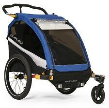 Burley D'Lite Kids Bike Bicycle Trailer Double Stroller Old School Blue New 2019