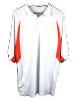 Augusta Sportswear Mens Golf Polo Shirt White and Orange Short Sleeve Size XL