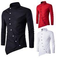 Mens Casual Fashion Irregular Silm Fit Long Sleeve Shirt Blouse Tops T-shirt New