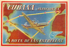 La Ruta de las Estrellas ~CUBANA de AVIACION - CUBA~ Gorgeous Old Luggage Label