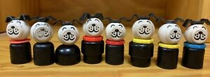 Vintage Fisher Price Little People 8 Different Wood Dogs Red Yellow Blue Collars