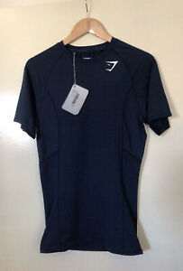 WOMENS GYMSHARK COMPRESSION BASE LAYER DRY BLUE SHORT SLEEVE TOP SIZE XL