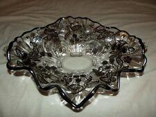 "13"" Console Fruit BOWL Silver Overlay Glass Cambridge Ruffled Rim Oblong Caprice"