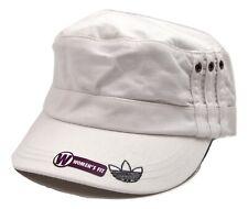 Adidas Women's Anita Military Style White Cotton Castro Cadet Style Cap Hat
