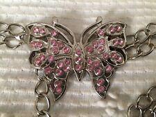 Metal Pink Butterfly Chain Belt