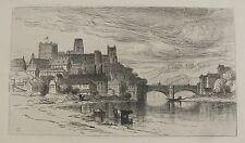 "SAMUEL COLMAN AMERICAN ETCHING ""DURHAM ENGLAND & RIVER WEAR"" 1880"