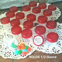 "12 Tiny 1.25"" high Plastic JARS Red Caps .50 OZ 3304 DecoJars USA Hummingbird"