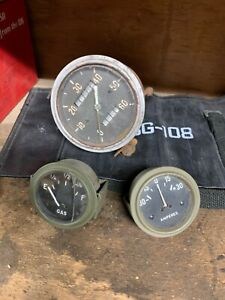 Ford GPW / Willys MB Gas and amp Gauge And speedometer 6v