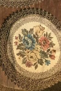 Antique velvet brocade Doily with metal thread trim Italian Tapestry 1
