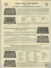 1914 PAPER AD Ideal Co Baseball Board Game Carrom Crown Star Archarena Pool