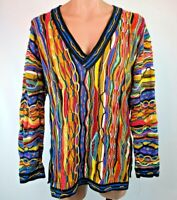 RARE 90s Vtg COOGI Australia NEON-BIGGIE-MCGREGOR sweater L VAPORWAVE V-NECK EUC