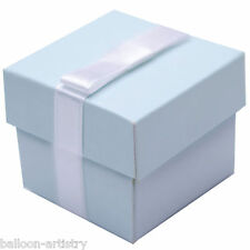 12 Elegant Baby Blue Christening Wedding Party Gift Favour Bags Cubes Boxes