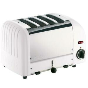Dualit Vario Classic 4 Slice Toaster 28mm Extra Wide Slots Stainless Steel White