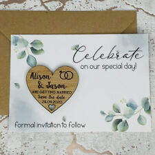 Personalised Green Leaf Wedding Save The Date Heart Fridge Magnet Card Invite