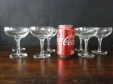 7x Vintage Champagne Glasses Coupes Faceted Stem, Mid-Century Glass h10,7cm