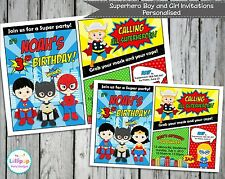SUPERHERO PERSONALISED INVITATIONS CARDS BIRTHDAY INVITE BATMAN SPIDERMAN Comic