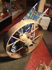 "1840 VTG ANTIQUE PRIMITIVE COUNTRY FARM Cast Iron Metal Wagon WHEEL 26""  70+ Lbs"