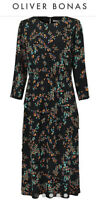 Oliver Bonas Black Floral Midi Dress Size 12 New Love Asymmetrical Tiered Skirt