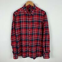 Uniqlo Mens Button Up Shirt Size Medium Red Plaid Long Sleeve Collared