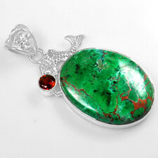 10.58 Gm 925 Sterling silver Natural Pendant Chrysocolla Red Garnet Fine Jewelry