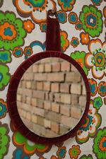 Vintage Spiegel 70er Wandspiegel Space-Age Design 70s Samt Rund burgund rot