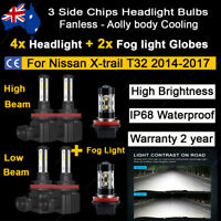 6x Headlight Globes Fog light For Nissan Xtrail T32 2015 2016 High Low Beam Bulb
