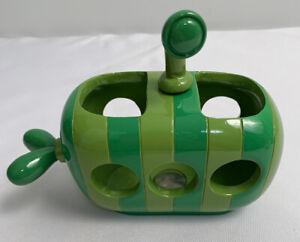 "Target Plastic/Ceramic Shades of Green Submarine Toothbrush Holder 6"" Long"