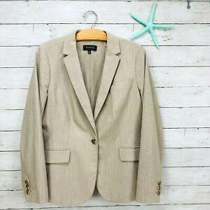Talbots Beige Taupe Pink Pinstripe Career Blazer Jacket NWOT Womens sz 14