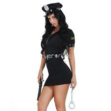 Sexy Women Police Uniform Costume Dress Role Play Fancy Dress Outfit Xmas party