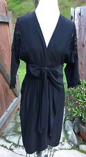 JOVOVICH HAWK Silk Dress Sz 4 black lace shoulder bow at waist low V