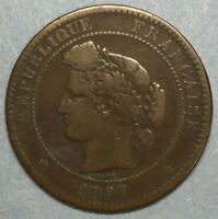 1897 A French Copper 10 Centimes Coin France #ZS46