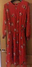 Rose Print Manga Larga Vestido de gasa arrugada. cintura fruncida Rojo Tamaño 14, y puños