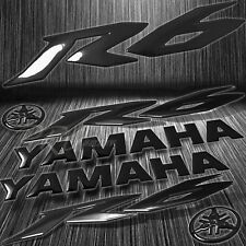 "x2 8"" 3D Logo+Letter Decal+6"" Fairing Emblem Sticker for YZF-R6/R6S Glossy Black"