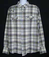 English Laundry Shirt Men's XL Plaid Embroidered Flannel Cotton Flip Cuff Plaid