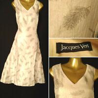 JACQUES VERT Golden Beige Feather Shimmer Dress Sleeveless Wedding Size 20 T6