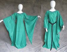 Green Medieval Bell Sleeve Dress Gown SCA Game of Thrones Cosplay LARP S M