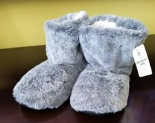 NEW GRAY MTI TRADING SHERPA HIGH TOP SLIPPER ANKLE BOOTIE ONE SIZE FITS MOST