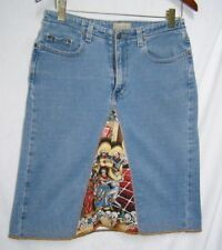 Upcycled Liz Claiborne Day of the Dead jean skirt sz 8