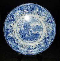 "Staffordshire R Hall Italian Buildings Blue Transferware Luncheon Plate 9"" 1830"