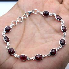 "Labor Day Sale Red Garnet Oval Gemstone 925 Sterling Silver Handmade Bracelet 8"""